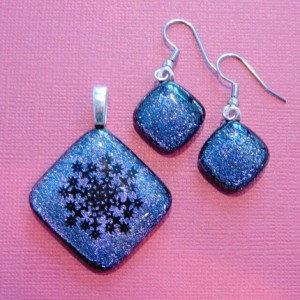 Snowflake dichroic fused glass pendant and earrings