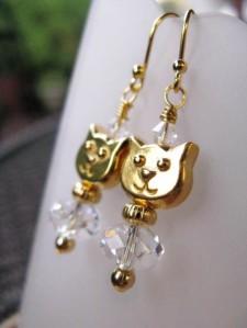 Cat Face 14K Gold Filled Earrings