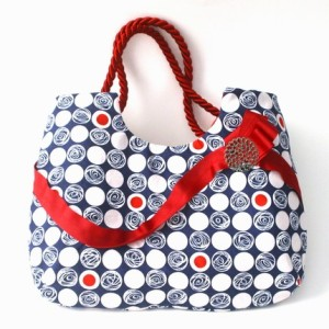 handbag purse navy red polka dots
