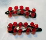 hair clips red beaded