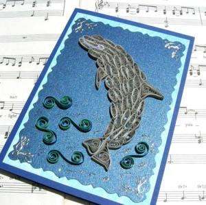 greeting card blue dolphin