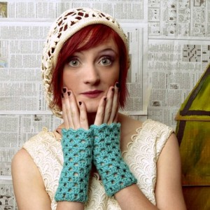 fingerless gloves aquamarine