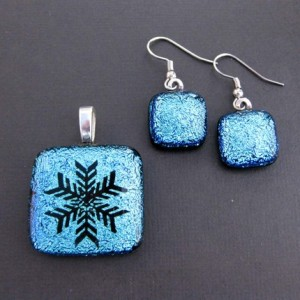 pendant and earrings dichroic fused glass aquamarine